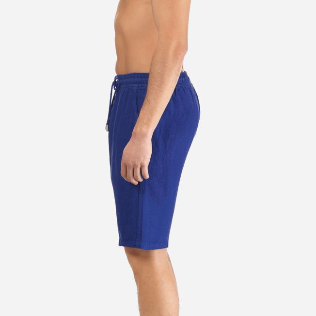 Vilebrequin - Bermudas cortas de lino con estampado liso y bolsillos italianos para hombre - 7