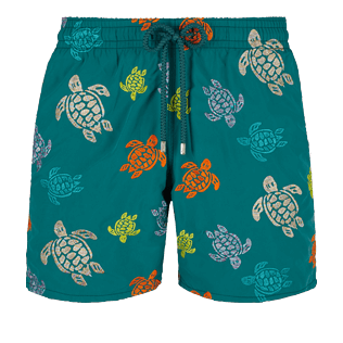 Men Classic Embroidered - Men Swim Trunks Embroidered Ronde des tortues - Limited Edition, Pine wood front
