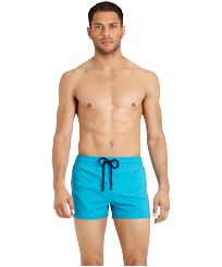 Men Short classic Solid - Men Swimwear Short and Fitted Stretch Solid, Curacao frontworn