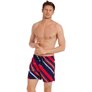 Hombre Clásico stretch Estampado - Men Swimwear Stretch Diagonal Stripes, Ciruela frontworn