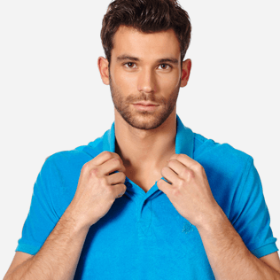 Men Others Solid - Men Terry Cloth Polo Shirt Solid, Hawaii blue supp1