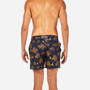 Men Classic / Moorea Printed - Prehistoric Fish Lightweight Packable Swim shorts, Navy supp2
