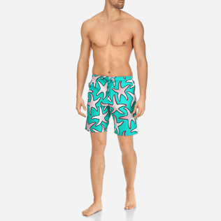 Men Long classic Printed - Men Stretch Swimtrunks Starfish Art, Veronese green frontworn