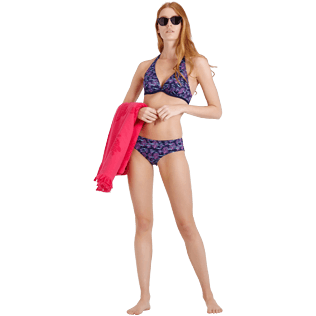 Mujer Braguitas Estampado - Women Covering Brief Bikini Bottom Coral & Fish, Azul marino supp2