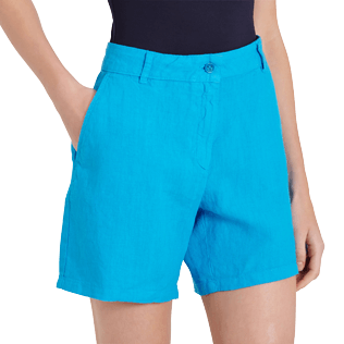 Women Others Solid - Women Linen Bermuda Shorts Solid, Hawaii blue supp1