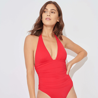 Women Bandeau Solid - Women One piece Swimsuit Solid, Strawberry supp1