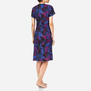 Women Dresses Printed - Camouflage Turtles Wrap-Around Dress, Plum backworn