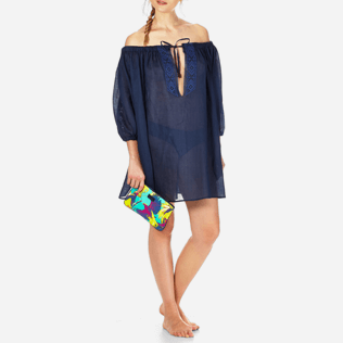 Women Dresses Embroidered - Women Off shoulder Linen Voile Dress Solid, Navy supp3