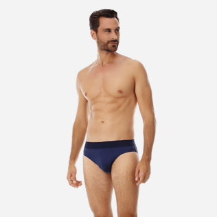 Men Swim brief and Boxer Solid - Men Swim Brief elastic belt solid, Navy frontworn