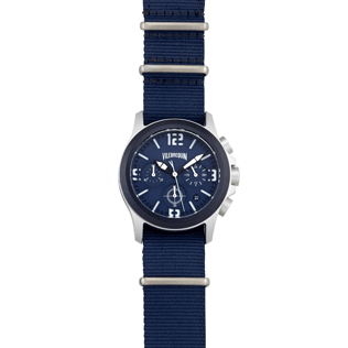 050 Solid - Nylon Stainless steel chrono watchcase, Navy front