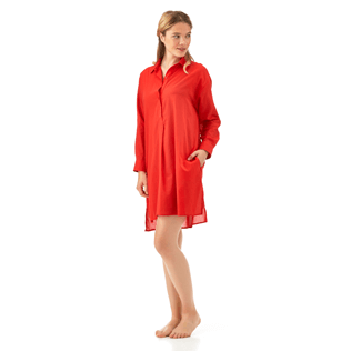 Women Dresses Solid - Solid dress shirt, Poppy red supp1