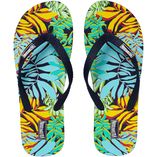 Men Others Printed - Men Flip Flops Jungle, Midnight blue front