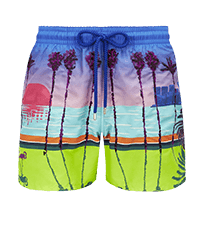 Men Embroidered Embroidered - Men printed and embroidered swimwear Miami - Limited Edition, Sea blue front