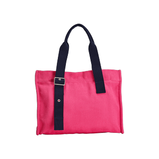 Others Solid - Small Cotton Beach Bag Solid, Gooseberry red back