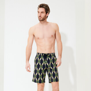 Men Long classic Printed - Men Long Stretch Swimwear Sweet Fishes, Navy frontworn