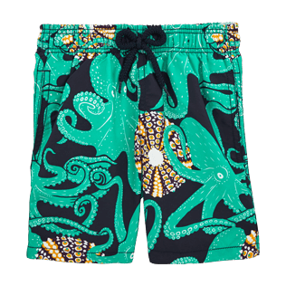 Boys Classic / Moorea Printed - Octopussy et Coquillages Swim Shorts, Navy front