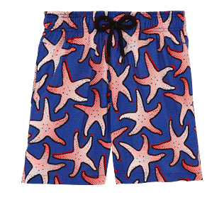 Boys Classic / Moorea Printed - Boys Lightweight and Packable Swimwear Starfish Art, Neptune blue front