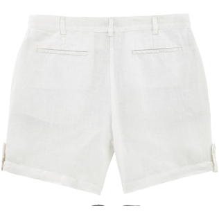 Women Others Solid - Solid Linen Bermuda shorts, White back