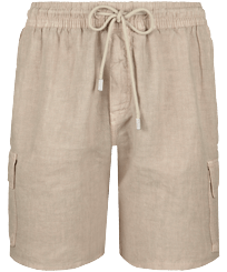 Men Others Solid - Men Cargo Linen Bermuda Shorts Solid, Safari front
