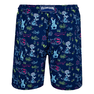 Men Long classic Printed - Men Swim Trunks Long Rabbits and Poodles - Florence Broadhurst, Navy back