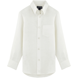 Boys Others Solid - Solid Linen Classic shirt, White front