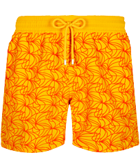 Men Classic Embroidered - Men Swim Trunks 1984 Invisible Fish Flocked, Yellow front