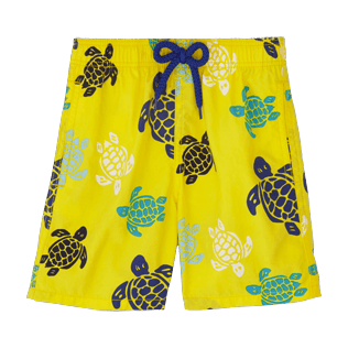 Chicos Corte Clásico Estampado - Bañador con estampado Multicolor Turtles, Limon front