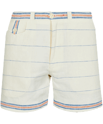 Men Others Graphic - Men 1972 Stripes Linen Bermuda Shorts, Chalk front