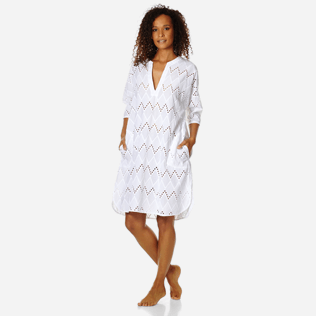 Women Others Embroidered - Women Cotton Beach Cover-up Broderies Anglaises, White frontworn