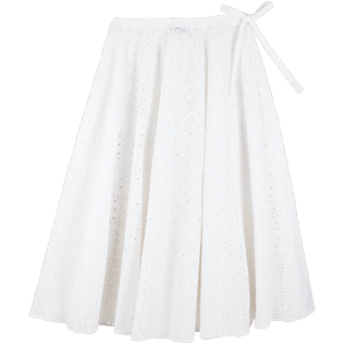 Women 014 Embroidered - Women Long Cotton Pareo Skirt Eyelet Embroidery, White back
