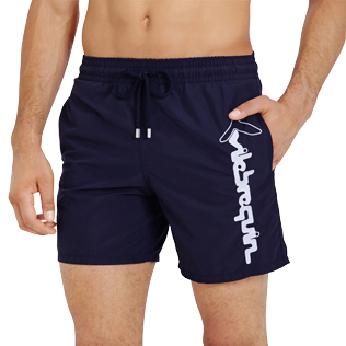 Men Classic Embroidered - Men Swim Trunks Placed Embroidery Le Vilebrequin, Navy supp1