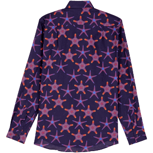 Others Printed - Unisex Cotton Voile Light Shirt Starfish Dance, Sapphire back