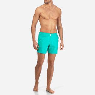 Men Flat belts Solid - Men Flat Belt Stretch Swimwear Solid, Veronese green frontworn