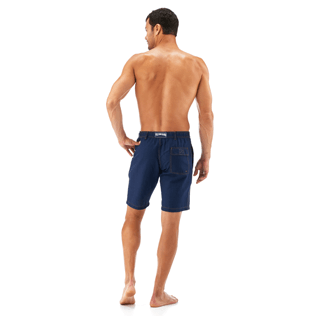 Men Shorts Solid - Indigo Straight bermuda, Indigo backworn