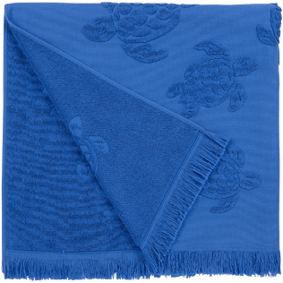 Others Solid - Beach Towel Fouta Jacquard Tortues, Royal blue back