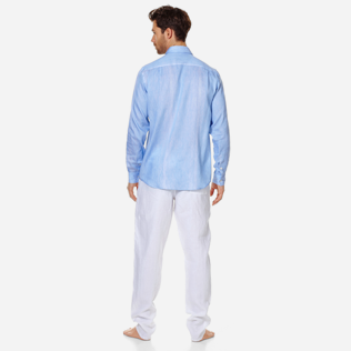 Others Graphic - Unisex linen cotton Shirt Multi Rayures, Sky blue backworn