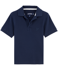 Boys Others Solid - Boys Cotton Pique Polo Shirt Solid, Navy front