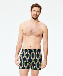 Men Stretch classic Printed - Men Stretch Swimwear Sweet Fishes, Navy frontworn