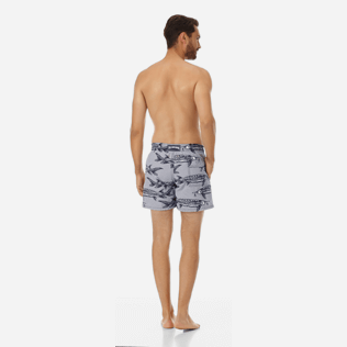 Men Classic Printed - Men Swimwear Belle ou Gars, White backworn