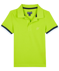 Boys Others Solid - Boys Cotton Pique Polo Shirt Solid, Lemongrass front