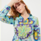Women Others Printed - Women Cotton Shirt Dress Kaleidoscope, Lagoon supp1