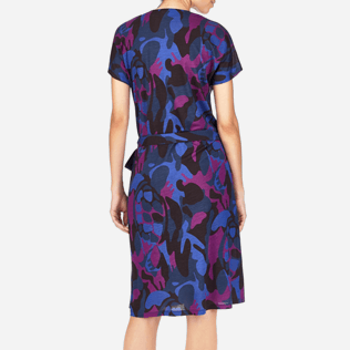 Women Dresses Printed - Camouflage Turtles Wrap-Around Dress, Plum supp2