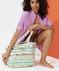 Others Printed - Large Beach Bag Eco-friendly, Green frontworn