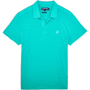 Men Others Solid - Men Linen Jersey Polo shirt Solid, Veronese green front