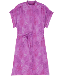 Women Others Embroidered - Women Silk Cotton Shirt Dress Embroidery, Orchid front