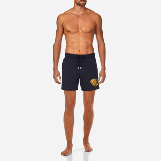 Men Embroidered Embroidered - Prehistoric Fish Placed Embroidery Swim shorts, Navy frontworn