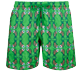 Men Classic Embroidered - Men Swimwear Embroidered Sweet Fishes - Limited Edition, Grass green front