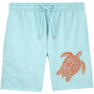 Men Classic / Moorea Embroidered - Tortue galuchat Placed embroidered Swim shorts, Frosted blue front