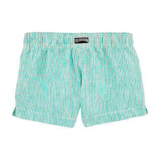 Chicas Shorty Gráfico - Pantalón corto de lino con bordado Micro Stripes Birds of Paradise para niña, Veronese green back