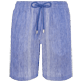 Men Others Graphic - Men Linen Cotton Shorts Bermuda Multi Rayures, Navy front